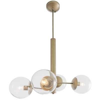 Varaluz Rogue Decor Mid-Century 4-Light Antique Brass Chandelier with Clear Glass - Home Depot
