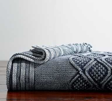 "Stonewashed Cable Knit Throw, 50 x 60"", Indigo - Pottery Barn"