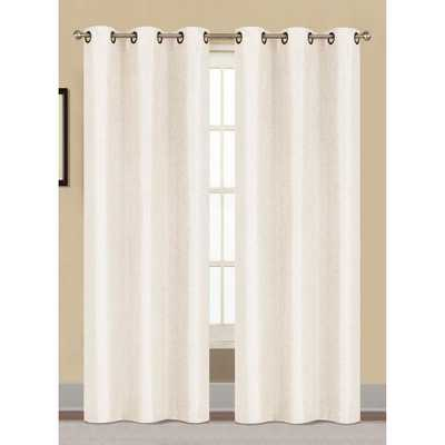 Window Elements Semi-Opaque Willow Textured Woven 96 in. L Grommet Curtain Panel Pair, White (Set of 2) - Home Depot