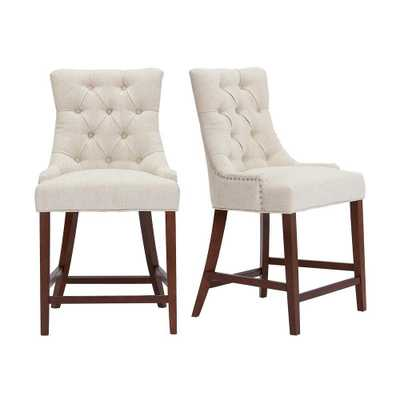 StyleWell Bakerford Wood Upholstered Counter Stool with Back and Biscuit Beige Seat (Set of 2) (21.85 in. W x 40.55 in. H), Biscuit/Walnut - Home Depot