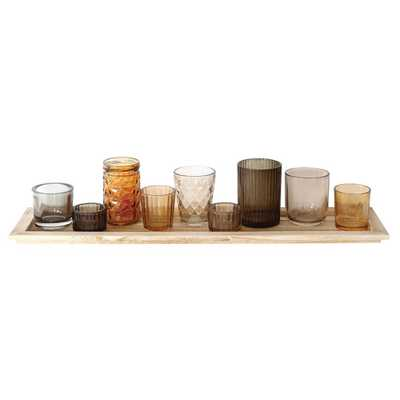 Wood Tray with 9 Glass Votive Holders - 3R Studios, Multi-Colored - Target