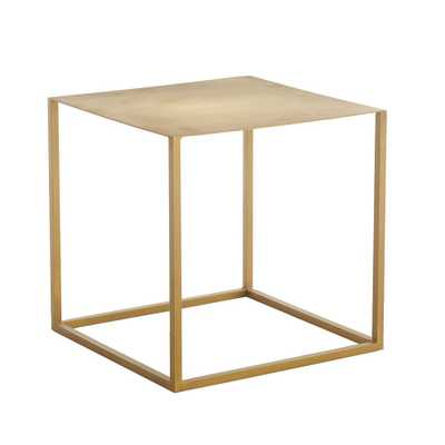 BRASS IRON CUBE TABLE - NEW - Wisteria