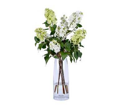 "Faux White Lilacs In Tall Glass Vase, 27"" - Pottery Barn"