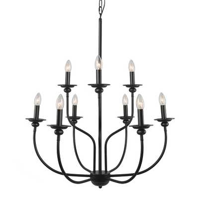LNC 9-Light Black Chandelier - Home Depot