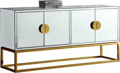 New Mariella Modern Mirrored Sideboard with Gold Stainless Steel Handles & Base - eBay