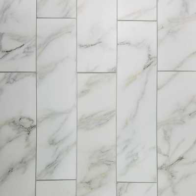 Nature 4 in. x 16 in. Calacatta Gold Glass Peel and Stick Decorative Wall Tile Backsplash (6-Pieces/Pack), Whites - Home Depot
