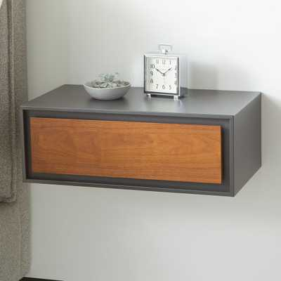 Pilsen Walnut and Graphite Floating Nightstand - Crate and Barrel