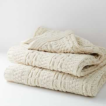 Made*Here New York 100% Cotton Fisherman Knit Throw - West Elm