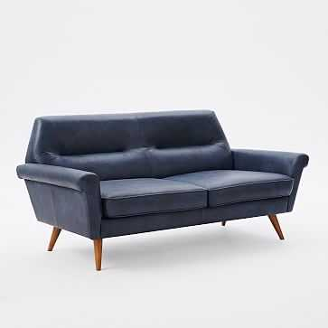 Denmark Faceted Loveseat, Leather, French Navy - West Elm