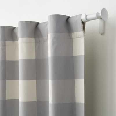 "Grey Buffalo Check 96"" Curtain - Crate and Barrel"