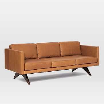 """Brooklyn 81"""" Leather Sofa, Burnt Sienna - West Elm"""