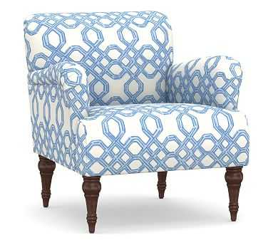 Hadley Upholstered Armchair, Polyester Wrapped Cushions, Lilly Pulitzer Well Connected Tide Blue - Pottery Barn