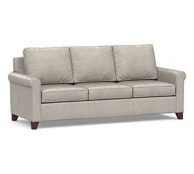"Cameron Roll Arm Leather Sofa 90.5"", Polyester Wrapped Cushions, Statesville Pebble - Pottery Barn"