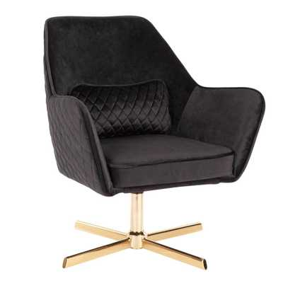 Lumisource Diana Black Velvet and Gold Metal Lounge Chair with Swivel, Black Velvet/Gold - Home Depot