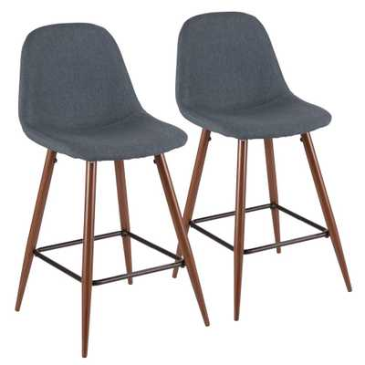 Pebble 24 in. Walnut and Blue Counter Stool (Set of 2), Blue/Brown - Home Depot