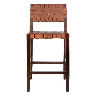 Paxton Woven Leather Counter Stool Cognac (Red) - Safavieh - Target
