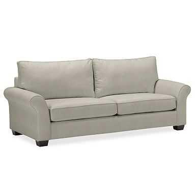 "PB Comfort Roll Arm Upholstered Grand Sofa 93"", Box Edge Memory Foam Cushions, Performance Tweed Silver Taupe - Pottery Barn"