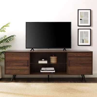 Walker Edison Furniture Company 70 in. Dark Walnut Mid-Century Modern 2-Door Console TV stand - Home Depot