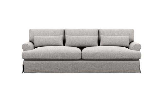 Maxwell Slipcovered Sofa with Earth Fabric and Matte Black with Brass Cap legs - Interior Define