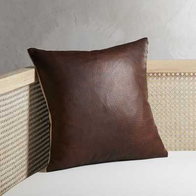 """""""16"""""""" Branca Dark Brown Leather Pillow with Feather-Down Insert"""" - CB2"""