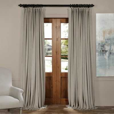 Exclusive Fabrics & Furnishings Blackout Signature Cool Beige Doublewide Blackout Velvet Curtain - 100 in. W x 108 in. L (1 Panel) - Home Depot