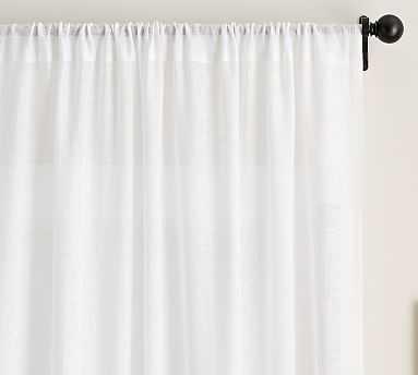 """Belgian Flax Linen Poletop Sheer Drape, 50 x 84"""", White - Pottery Barn"""