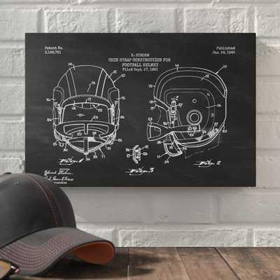 'Football Helmet Blueprint Chalkboard Patent' Graphic Art Print on Canvas - Wayfair
