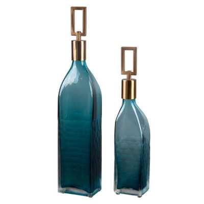 Teal Green Decorative Glass Bottles with Stoppers (Set of 2) - Home Depot