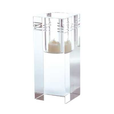Square Crystal Collar 6 in. Clear Crystal Candle Holder - Home Depot