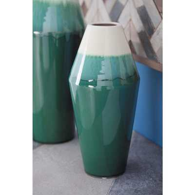 12 in. Rhombus Green and White Gradient Ceramic Decorative Vase - Home Depot