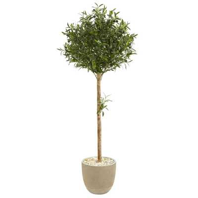 Indoor 5-Ft. Olive Topiary Artificial Tree in Sand Stone Planter - Home Depot