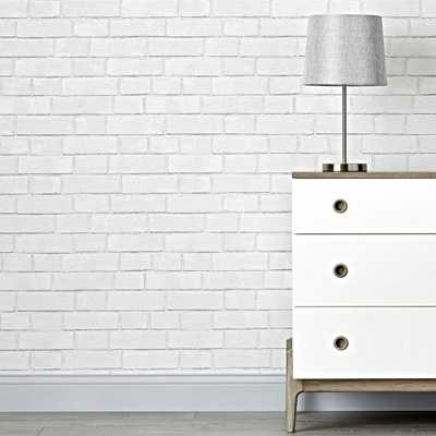 Brick White Removable Wallpaper - Crate and Barrel