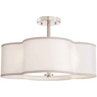 Home Decorators Collection 4-Light Brushed Nickel Semi-Flush Mount Light with Off-White Fabric Clover Shade - Home Depot