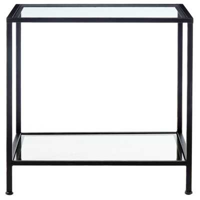 Bella Aged Bronze Square Glass End Table - Home Depot