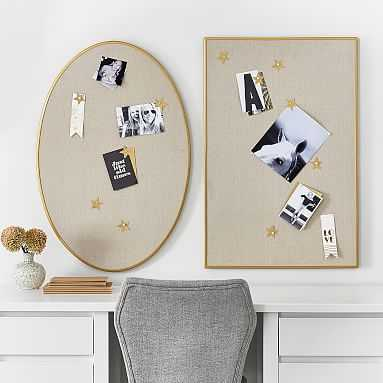 Metal Framed Pinboards, Brass/Linen Oval - Pottery Barn Teen