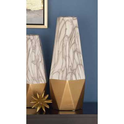 18 in. Gold and White Marble Paneled Decorative Vase, Multi - Home Depot