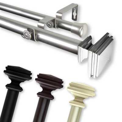 Rod Desyne Bedpost 66 in. - 120 in. Double Curtain Rod in Satin Nickel - Home Depot