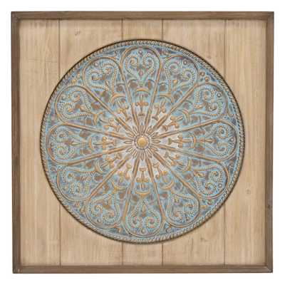 Metal and Wood Wall Art Wall Decor Finished in Brown - 28 X 1.5 X 28 - Home Depot