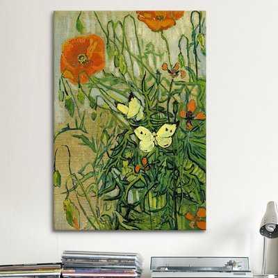 'Butterflies and Poppies' by Vincent van Gogh Graphic Art Print - Wayfair