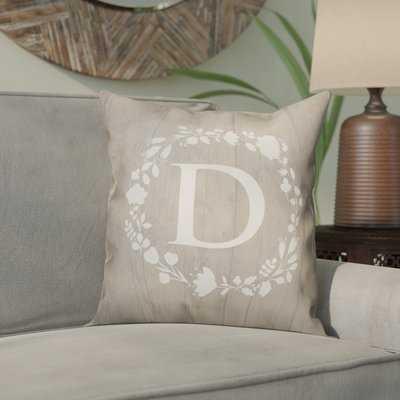 Orme Wreath Monogram Throw Pillow - Wayfair