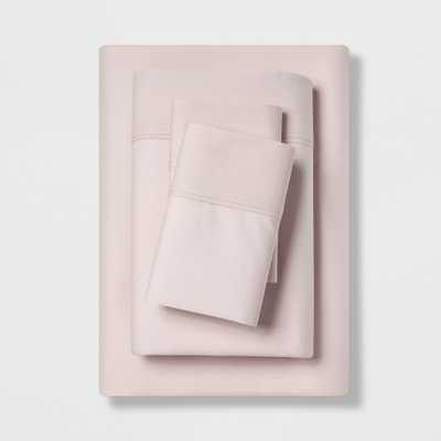 California King 300 Thread Count Organic Cotton Solid Sheet Set Blush - Threshold - Target