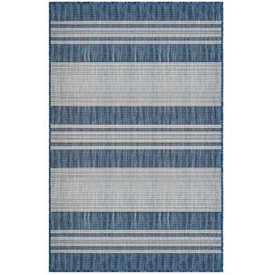 "TRANS-OCEAN IMPORT CO Liora Manne Carmel Stripe Indoor/Outdoor Rug Navy 6'6""X9'4"", Blue - Home Depot"