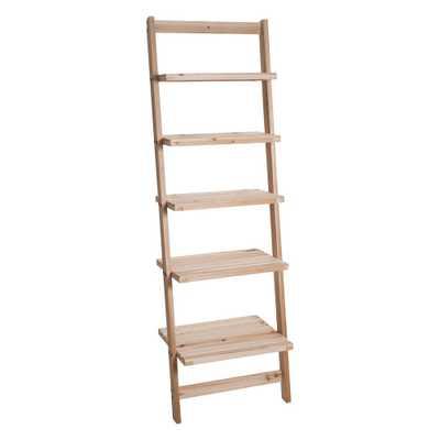 Lavish Home 5-Tier Natural Wooden Leaning Ladder Storage Shelf - Home Depot