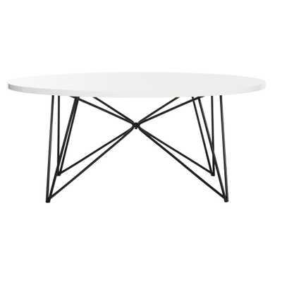 Maris Mid-Century Coffee Table - Lacquer White & Black - Safavieh, Lacquer White/Black - Target