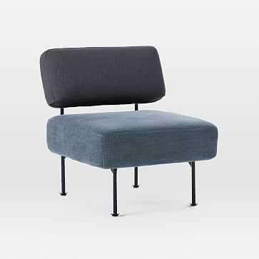 Ruby Slipper Chair, Twill/Basket Slub, Black Indigo/Mineral Blue - West Elm