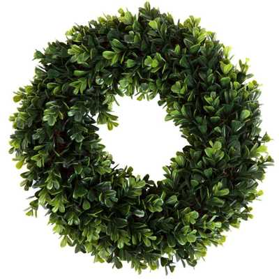 12 in. Round Artificial Boxwood Wreath - Home Depot