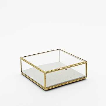 Golden Glass Shadow Box, Large Square, Gold - West Elm