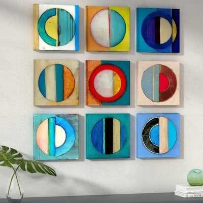 'Textured Circles Yellow and Blue' 9 Piece Canvas Wall Art Set - AllModern