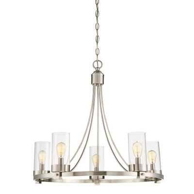 Filament Design 5-Light Brushed Nickel Chandelier with Clear Glass Shade - Home Depot