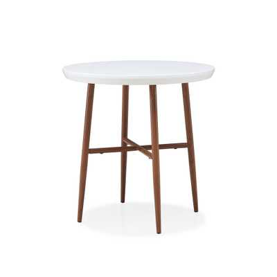 Miami White Round End Table with Brown Metal Legs, White Top With Brown Metal Legs - Home Depot